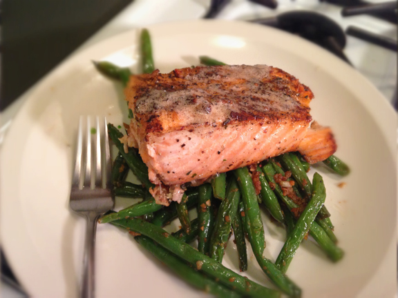 Salmon roasted in butter and green beans