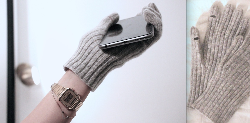 winter texting gloves gray