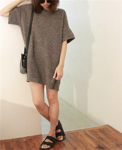 oversize brown knit sweater dress