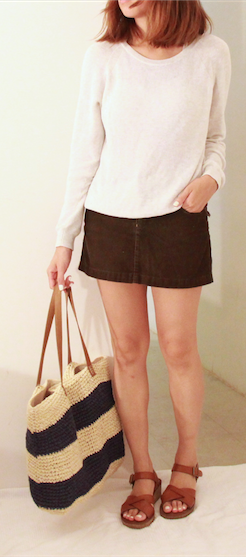 everlane sweater corduroy skirt kork ease