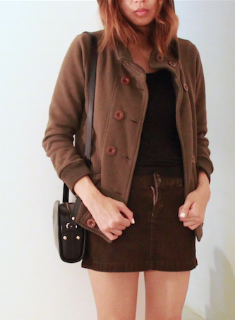military jacket corduroy skirt apc half moon bag