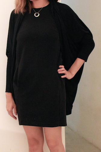 cocoon black dress