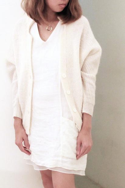 white linen dress close up