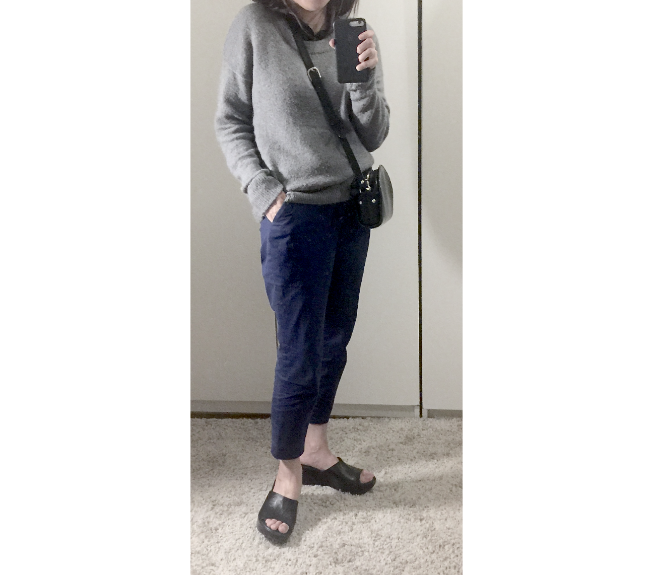 just female gray sweater apc half moon bag.png