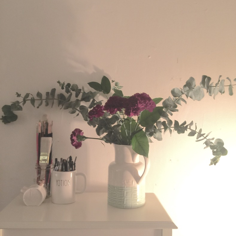 eucalyptus and carnations